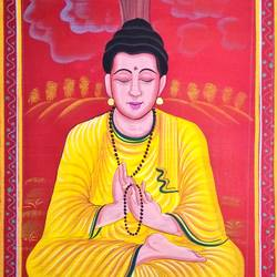 lord buddha, 15 x 27 inch, vishal gurjar,15x27inch,cloth,paintings,buddha paintings,religious paintings,miniature painting.,paintings for living room,paintings for office,paintings for hotel,oil color,GAL0778127151