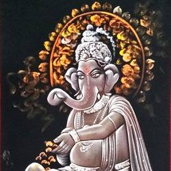 lord ganesha, 23 x 44 inch, vishal gurjar,23x44inch,cloth,paintings,ganesha paintings | lord ganesh paintings,miniature painting.,paintings for living room,paintings for hotel,mixed media,oil color,GAL0778127155,ganpati,ganesha,lord ganesh,elephant god,religious,ganpati bappa morya,mouse,mushakraj,ladoo,sweets