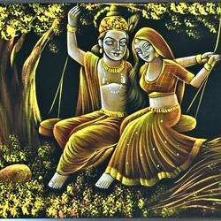 radha krishna, 24 x 46 inch, vishal gurjar,24x46inch,cloth,paintings,radha krishna paintings,love paintings,miniature painting.,paintings for living room,paintings for bedroom,paintings for hotel,mixed media,oil color,GAL0778127156,krishna,Lord krishna,krushna,radha krushna,flute,peacock feather,melody,peace,religious,god,love,romance
