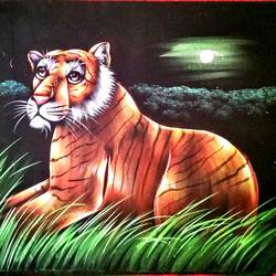 tiger, 27 x 21 inch, vishal gurjar,27x21inch,cloth,paintings,wildlife paintings,miniature painting.,paintings for hotel,mixed media,oil color,GAL0778127158
