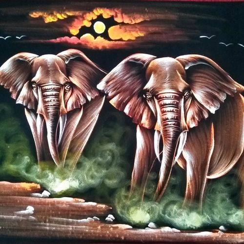 elephant, 28 x 20 inch, vishal gurjar,28x20inch,cloth,paintings,wildlife paintings,elephant paintings,miniature painting.,paintings for hotel,mixed media,oil color,GAL0778127159
