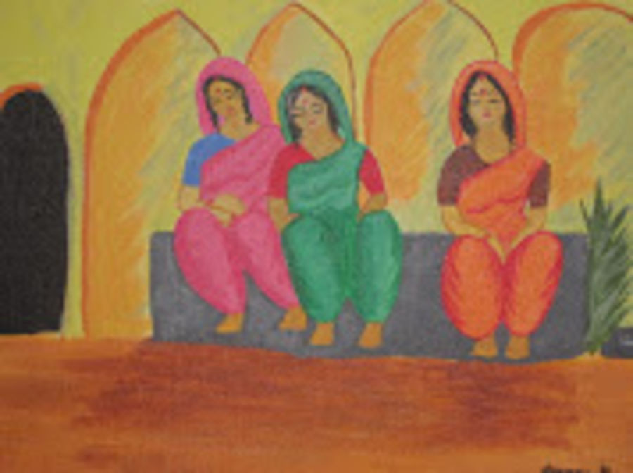 three women, 16 x 12 inch, aparna biswas,figurative paintings,paintings for living room,canvas,acrylic color,16x12inch,GAL010692716