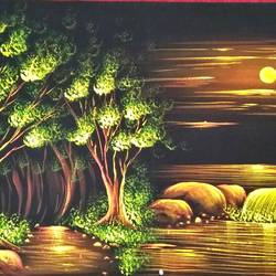 beautiful nature, 48 x 23 inch, vishal gurjar,48x23inch,cloth,paintings,nature paintings | scenery paintings,miniature painting.,paintings for living room,paintings for hotel,paintings for living room,paintings for hotel,mixed media,oil color,GAL0778127161