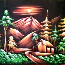 nature, 27 x 21 inch, vishal gurjar,27x21inch,cloth,paintings,nature paintings | scenery paintings,miniature painting.,paintings for living room,paintings for hotel,mixed media,oil color,GAL0778127162