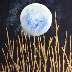 bright moon, 18 x 14 inch, diana jackson,18x14inch,canvas,paintings,abstract paintings,foil paintings,illustration paintings,realism paintings,acrylic color,GAL01587627176