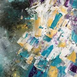 fussy blue cubes, 15 x 22 inch, diana jackson,15x22inch,canson paper,paintings,abstract paintings,abstract expressionism paintings,paintings for living room,paintings for bedroom,paintings for office,paintings for hotel,acrylic color,GAL01587627177