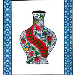 decorated urn with mosaic pattern, 11 x 16 inch, geeta kwatra,11x16inch,ivory sheet,paintings,abstract paintings,art deco paintings,paintings for living room,paintings for hotel,mixed media,GAL0899127182