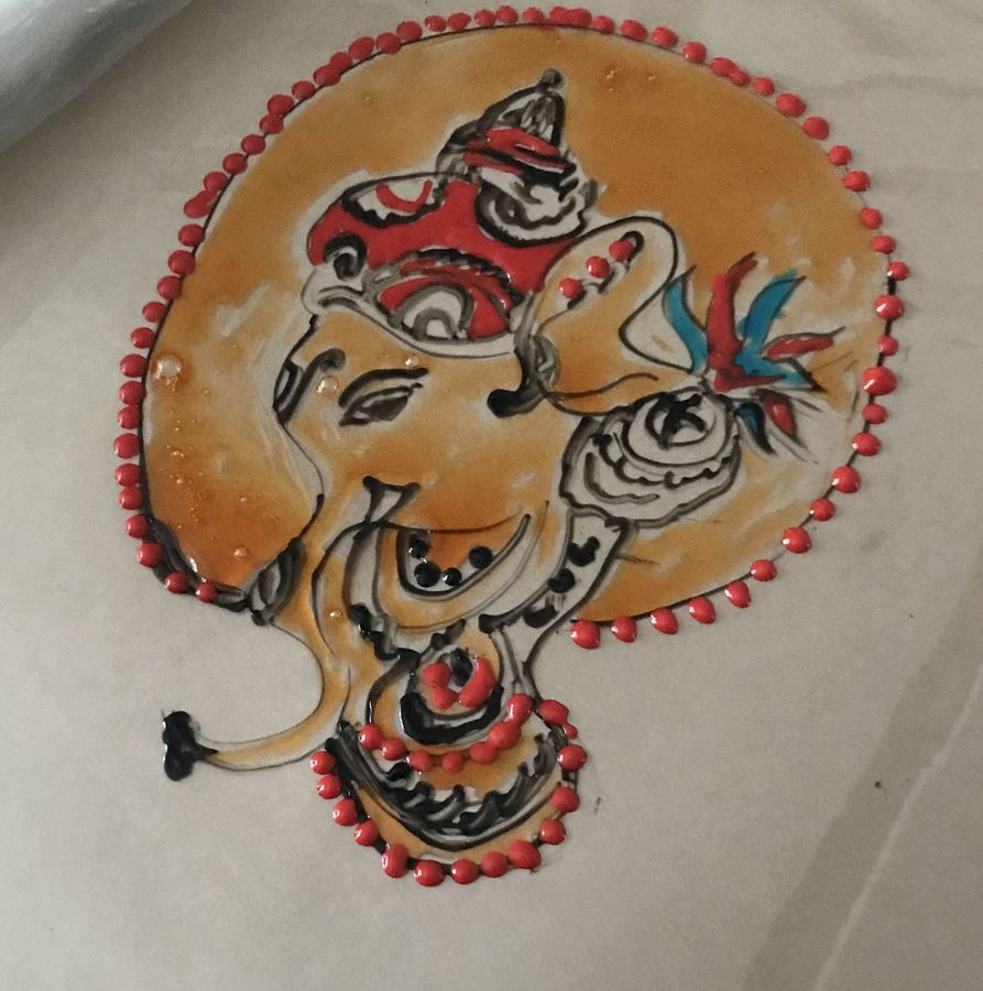 kerala mural glass painting, 8 x 12 inch, aindrila biswas,8x12inch,thick paper,paintings,ganesha paintings | lord ganesh paintings,paintings for dining room,paintings for bedroom,paintings for office,glass,GAL01480727183