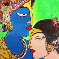 radhakrishna, 14 x 18 inch, ranita sharma,14x18inch,canvas,paintings,religious paintings,radha krishna paintings,acrylic color,GAL01370527186