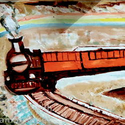 the train, 48 x 16 inch, anand manchiraju,48x16inch,canvas,paintings,nature paintings | scenery paintings,kids paintings,paintings for kids room,oil color,GAL01254027187