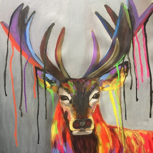 mystic deer, 18 x 24 inch, kangana vohra,18x24inch,canvas,paintings,wildlife paintings,modern art paintings,conceptual paintings,nature paintings | scenery paintings,pop art paintings,street art,animal paintings,contemporary paintings,paintings for dining room,paintings for living room,paintings for bedroom,paintings for office,paintings for bathroom,paintings for kids room,paintings for hotel,paintings for school,paintings for hospital,acrylic color,GAL0725827188