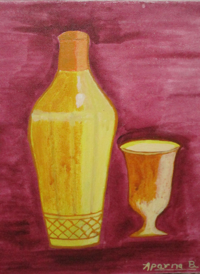 Glass with a bottle
