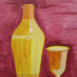 glass with a bottle, 8 x 10 inch, aparna biswas,still life paintings,paintings for dining room,canvas,acrylic color,8x10inch,GAL010692719