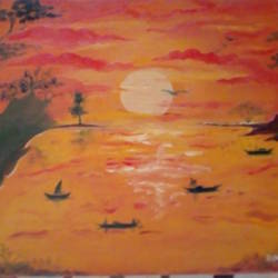 scenery of sunset, 18 x 12 inch, priya ranjan patro,18x12inch,canvas board,nature paintings | scenery paintings,oil color,GAL0971627191