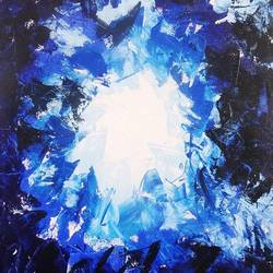 magical blue abstract art, 18 x 24 inch, vgo cart,18x24inch,canvas,paintings,abstract paintings,acrylic color,GAL01132727195