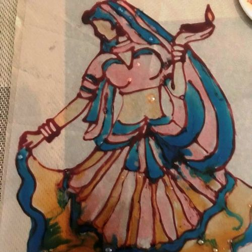 dancing girl, 8 x 11 inch, aindrila biswas,8x11inch,acrylic glass,paintings,folk art paintings,paintings for dining room,paintings for bedroom,paintings for office,glass,GAL01480727197