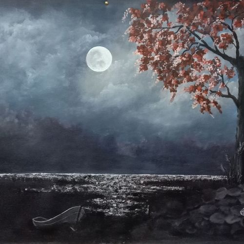night scene, 34 x 23 inch, ila  singh,34x23inch,canvas,paintings,landscape paintings,conceptual paintings,nature paintings | scenery paintings,expressionism paintings,impressionist paintings,photorealism paintings,photorealism,realism paintings,paintings for dining room,paintings for living room,paintings for bedroom,paintings for office,paintings for kids room,paintings for hotel,paintings for school,paintings for hospital,acrylic color,GAL0795927199