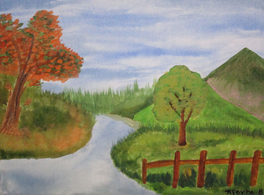 the river, 16 x 12 inch, aparna biswas,nature paintings,paintings for bedroom,canvas,acrylic color,16x12inch,GAL010692720Nature,environment,Beauty,scenery,greenery