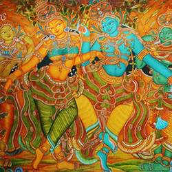radha krishna mural art , 36 x 24 inch, vgo cart,36x24inch,canvas,paintings,kerala murals painting,acrylic color,GAL01132727201