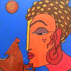 buddhaa, 12 x 18 inch, ranita sharma,12x18inch,wood board,paintings,religious paintings,acrylic color,GAL01370527204