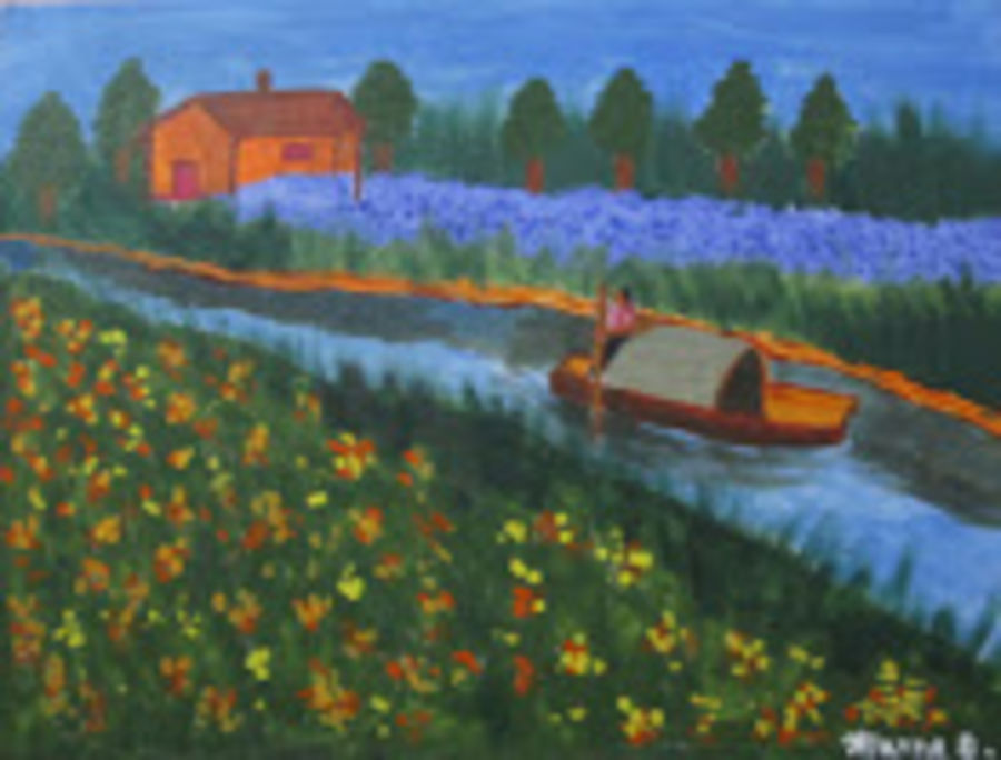 the boatman, 16 x 12 inch, aparna biswas,landscape paintings,paintings for bedroom,canvas,acrylic color,16x12inch,GAL010692721