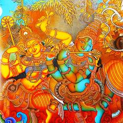 radha krishna with flute mural art , 17 x 21 inch, vgo cart,17x21inch,canvas,paintings,kerala murals painting,acrylic color,GAL01132727212