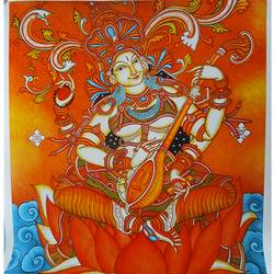 godess saraswathi mural art, 20 x 19 inch, vgo cart,20x19inch,canvas,paintings,kerala murals painting,acrylic color,GAL01132727213