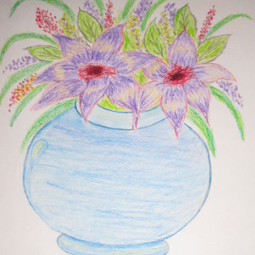 the flower pot, 8 x 10 inch, aparna biswas,still life paintings,paintings for living room,paper,pastel color,8x10inch,GAL010692722