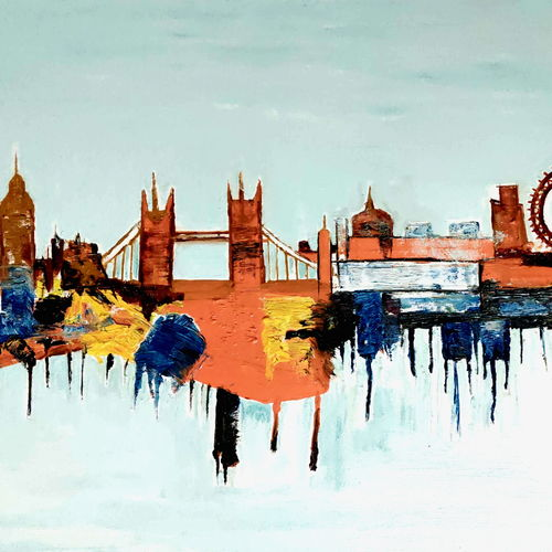 beauty of london sky line, 42 x 30 inch, anand manchiraju,42x30inch,canvas,paintings,abstract paintings,modern art paintings,paintings for living room,paintings for office,paintings for hotel,oil color,GAL01254027225