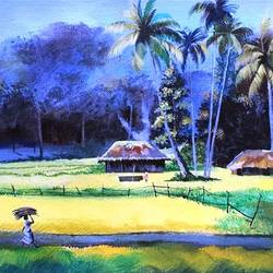 nature landscape painting, 20 x 10 inch, sripati sahoo,20x10inch,canvas,landscape paintings,nature paintings | scenery paintings,acrylic color,GAL0269427228