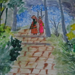 village women, 6 x 10 inch, aparna biswas,figurative paintings,paintings for living room,paper,watercolor,6x10inch,GAL010692723