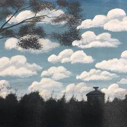 clouds, 14 x 8 inch, nidhi choudhari,14x8inch,canvas,paintings,landscape paintings,acrylic color,GAL01583527230