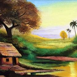nature landscape painting, 20 x 10 inch, sripati sahoo,20x10inch,canvas,paintings,abstract paintings,nature paintings | scenery paintings,acrylic color,GAL0269427231