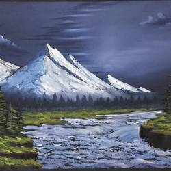 alaska night, 21 x 17 inch, shankhadeep  mondal,21x17inch,canvas,landscape paintings,paintings for living room,paintings for living room,acrylic color,GAL01403027235