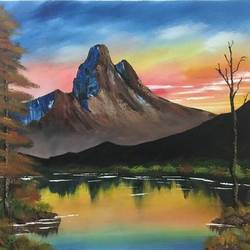 morning mountain, 19 x 17 inch, shankhadeep  mondal,19x17inch,canvas,landscape paintings,paintings for living room,paintings for living room,acrylic color,GAL01403027236