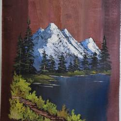 snowy mountain, 16 x 21 inch, shankhadeep  mondal,16x21inch,canvas,paintings,landscape paintings,paintings for living room,acrylic color,GAL01403027240