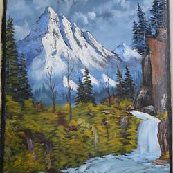 mountain river, 20 x 24 inch, shankhadeep  mondal,20x24inch,canvas,paintings,landscape paintings,paintings for living room,acrylic color,GAL01403027242