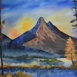 evening mountain, 22 x 18 inch, shankhadeep  mondal,22x18inch,canvas,paintings,landscape paintings,paintings for living room,acrylic color,GAL01403027244