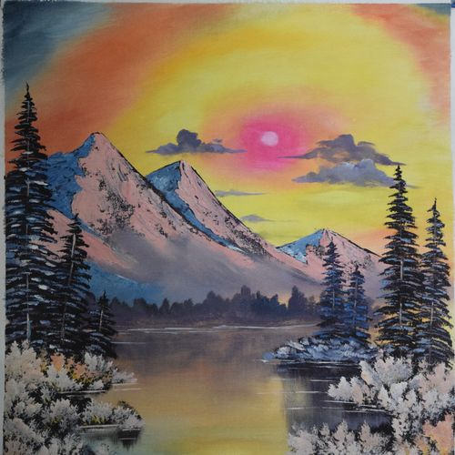 morning mountain, 23 x 20 inch, shankhadeep  mondal,23x20inch,canvas,paintings,landscape paintings,paintings for living room,acrylic color,GAL01403027252