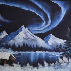 alaska night, 21 x 17 inch, shankhadeep  mondal,21x17inch,canvas,paintings,landscape paintings,paintings for living room,acrylic color,GAL01403027254