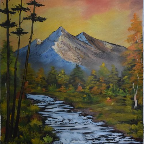mountain waterflow, 19 x 23 inch, shankhadeep  mondal,19x23inch,canvas,paintings,landscape paintings,paintings for living room,acrylic color,GAL01403027255