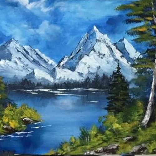 mountain lake, 17 x 13 inch, shankhadeep  mondal,17x13inch,canvas,paintings,landscape paintings,paintings for living room,acrylic color,GAL01403027256