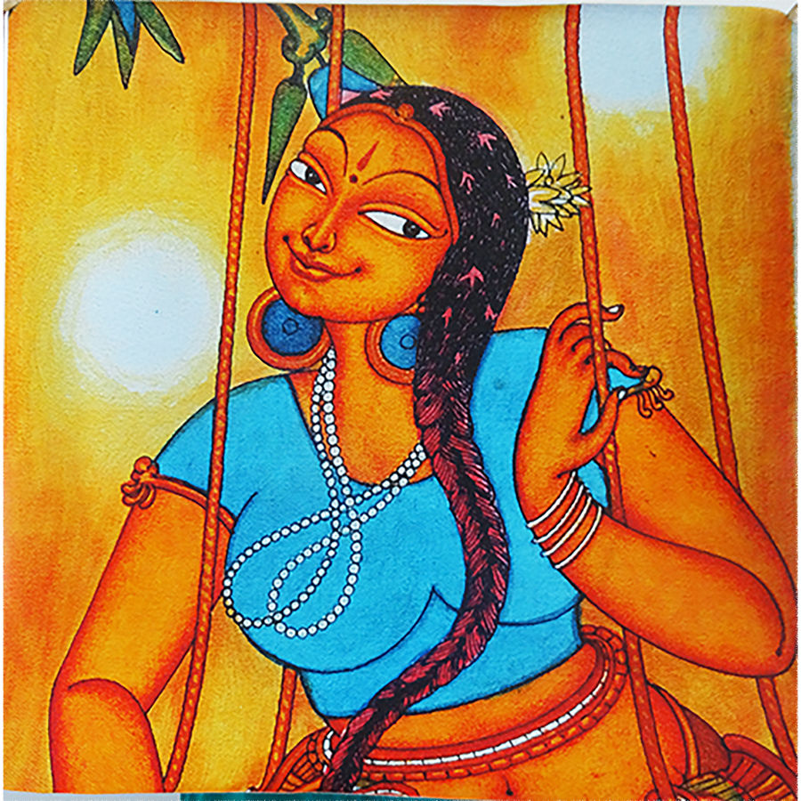 girl in swing mural art, 24 x 24 inch, vgo cart,24x24inch,canvas,paintings,kerala murals painting,acrylic color,GAL01132727260