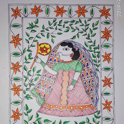 mithila painting, 9 x 12 inch, rani supriya,9x12inch,thick paper,paintings,madhubani paintings | madhubani art,paintings for dining room,paintings for living room,paintings for bedroom,paintings for office,paintings for bathroom,paintings for kids room,paintings for hotel,paintings for kitchen,paintings for school,paintings for hospital,acrylic color,GAL01256827262