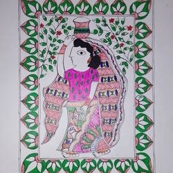 madhubani painting, 9 x 12 inch, rani supriya,9x12inch,thick paper,paintings,madhubani paintings | madhubani art,paintings for dining room,paintings for living room,paintings for bedroom,paintings for office,paintings for bathroom,paintings for kids room,paintings for hotel,paintings for kitchen,paintings for school,paintings for hospital,acrylic color,GAL01256827266