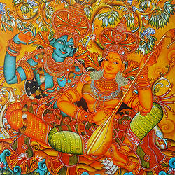 radha krishna playing music mural art , 36 x 36 inch, vgo cart,36x36inch,canvas,paintings,kerala murals painting,oil color,GAL01132727268