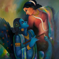 radhakrishna love 3, 36 x 48 inch, sanjay  tandekar ,36x48inch,canvas,paintings,figurative paintings,modern art paintings,religious paintings,acrylic color,GAL0281027269
