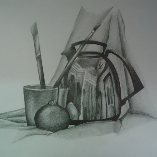 still life, 14 x 21 inch, samiksha  singh,still life paintings,paintings for living room,paper,graphite pencil,14x21inch,GAL010512727