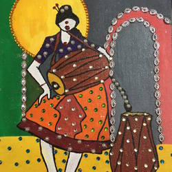 my time, 10 x 12 inch, ranita sharma,10x12inch,canvas,folk art paintings,acrylic color,GAL01370527271