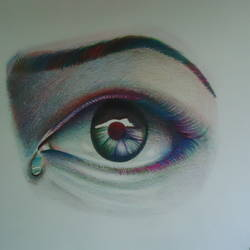 crying eye, 10 x 10 inch, samiksha  singh,paintings for living room,fine art drawings,modern drawings,paper,pencil color,10x10inch,GAL010512728